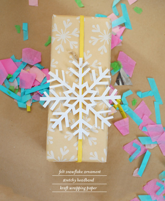 Oh Joy | use a stretchy headband & ornament to decorate a wrapped gift