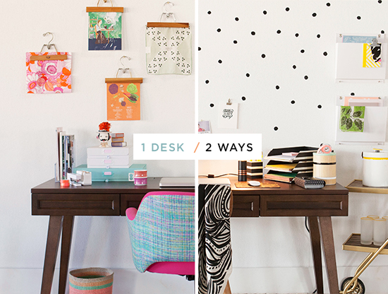 Cubicle Décor Ideas To Make Your Home Office Pop: One Desk, Two Ways...