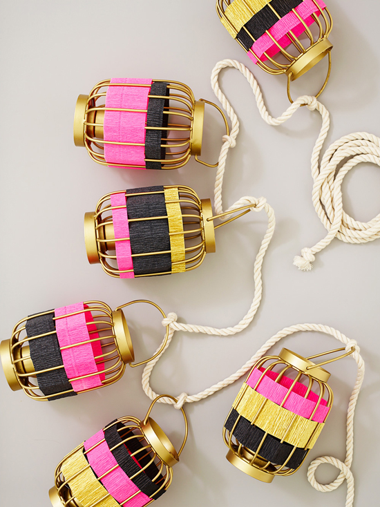 Striped Lantern Garland DIY / by ThussFarrell for Oh Joy