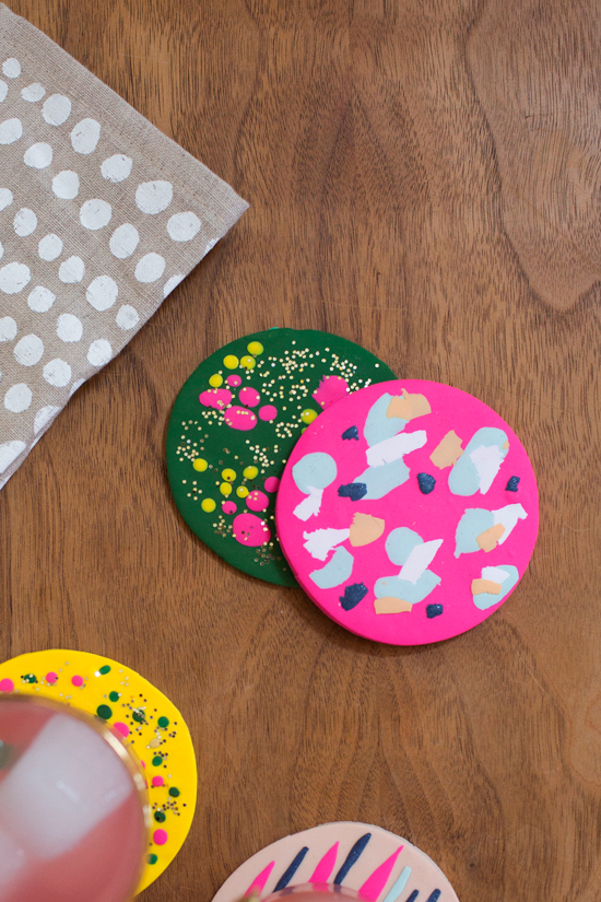 Colorful Clay Coasters DIY