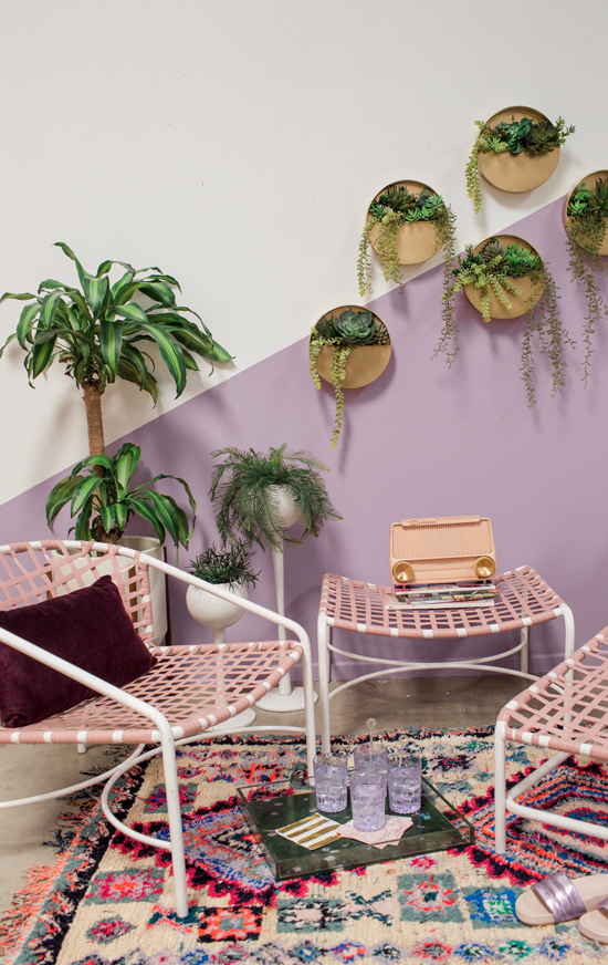 color adventures: a purple & blush sunroom