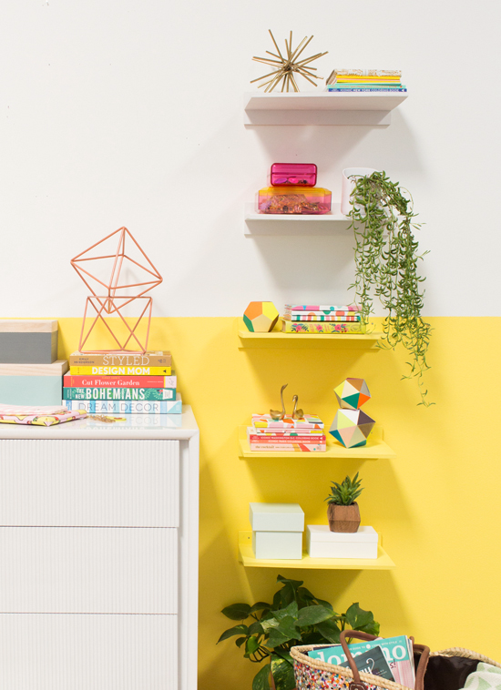 color-blocked floating shelves