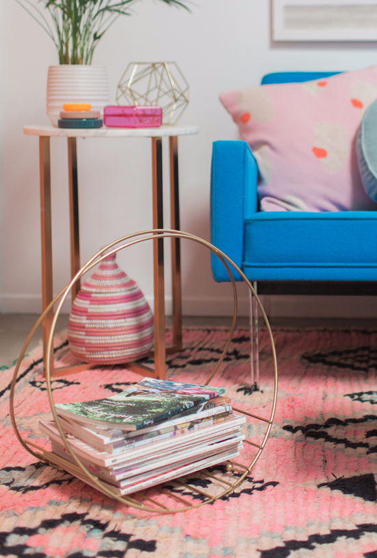 color adventures: a pink & blue living room