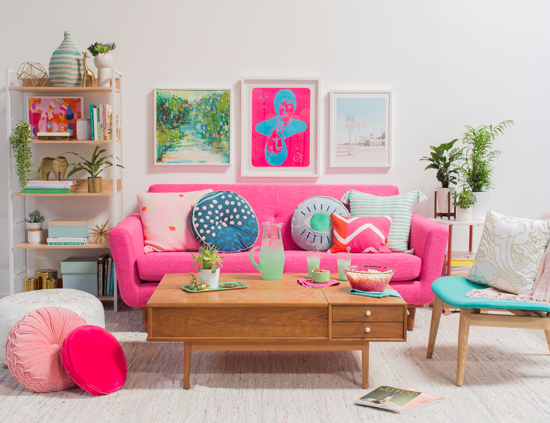 Pink and Green Living Room / oh joy!