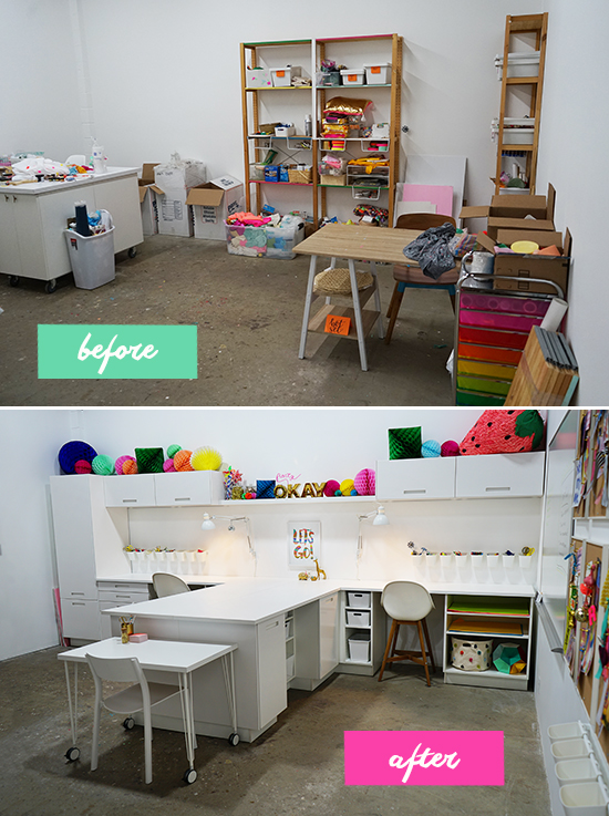 oh joy studio craft room: before and after