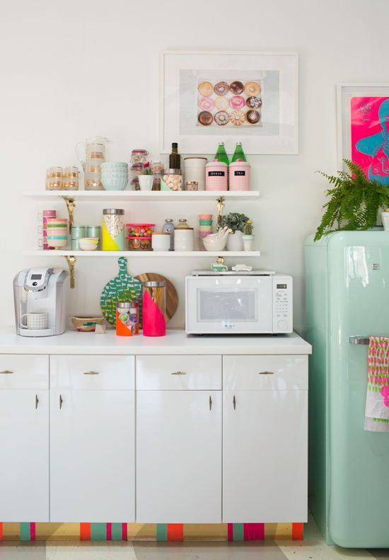 neon jar diy makes your kitchen pop with color - Colorful Kitchens