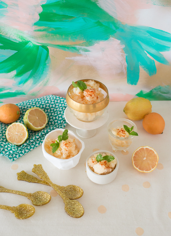 pink lemon and grapefruit granita