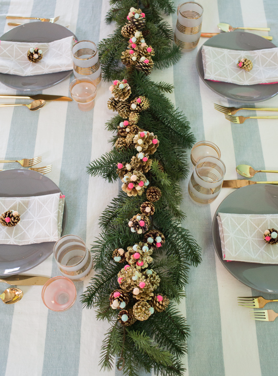 pine cone pom table decor