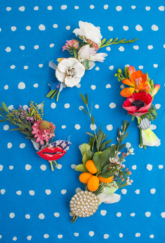 mini floral brooches