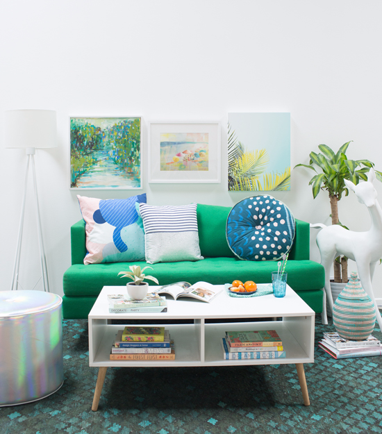 a green and blue living room!