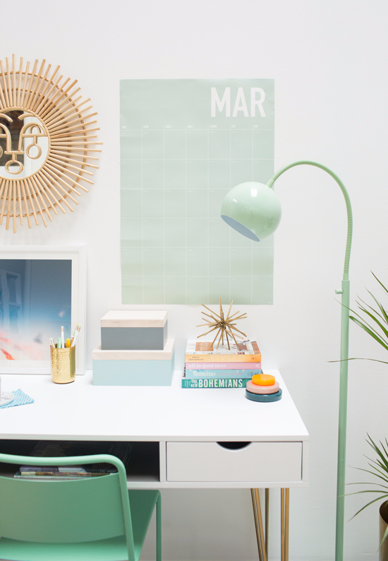 a green and blue office