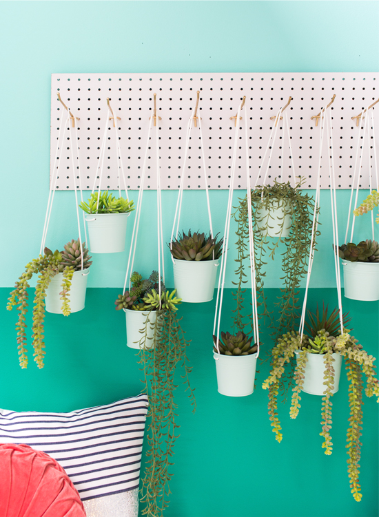 a peg board hanging planter DIY
