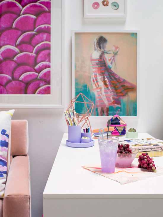 color adventures: a purple and blush office