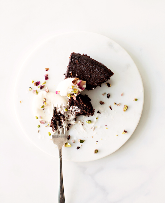 Dark Chocolate Olive Oil Cake by Karen Mordechai