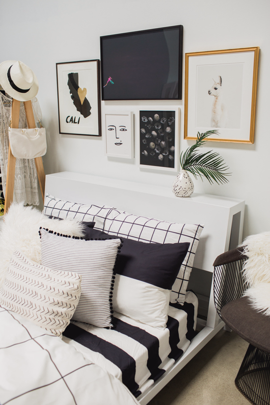 4 tips for a cool black & white bedroom