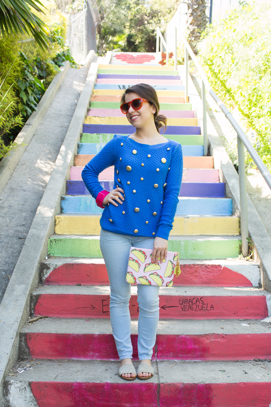 a vintage-inspired button sweater