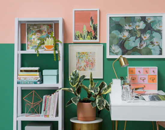 oh joy color adventures: a peach and green office!