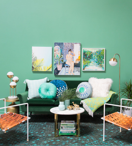 Oh Joy / A green on green living room