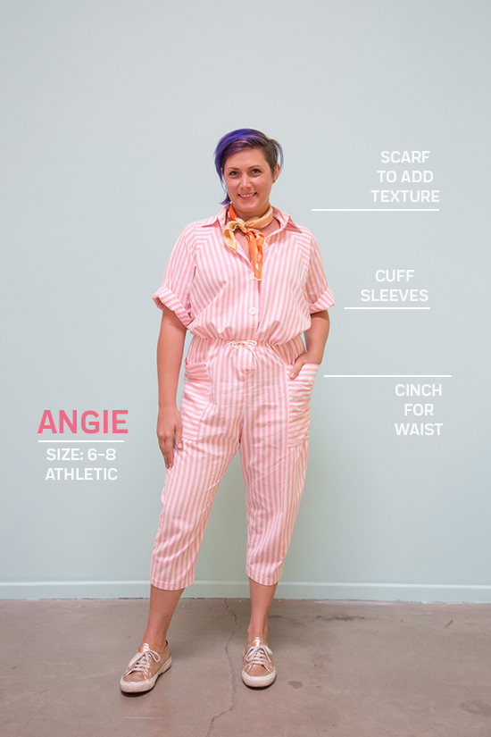 How to Wear a Striped Vintage Jumpsuit // Angie: Size 6-8 & Athletic / Scarf to Add Texture, Cuff Sleeves, Cinch for Waist