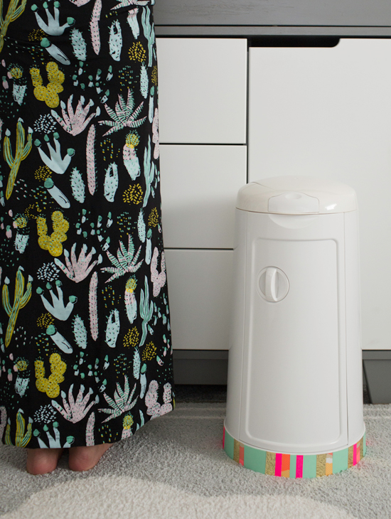 Customized Diaper Pail with Washi Tape
