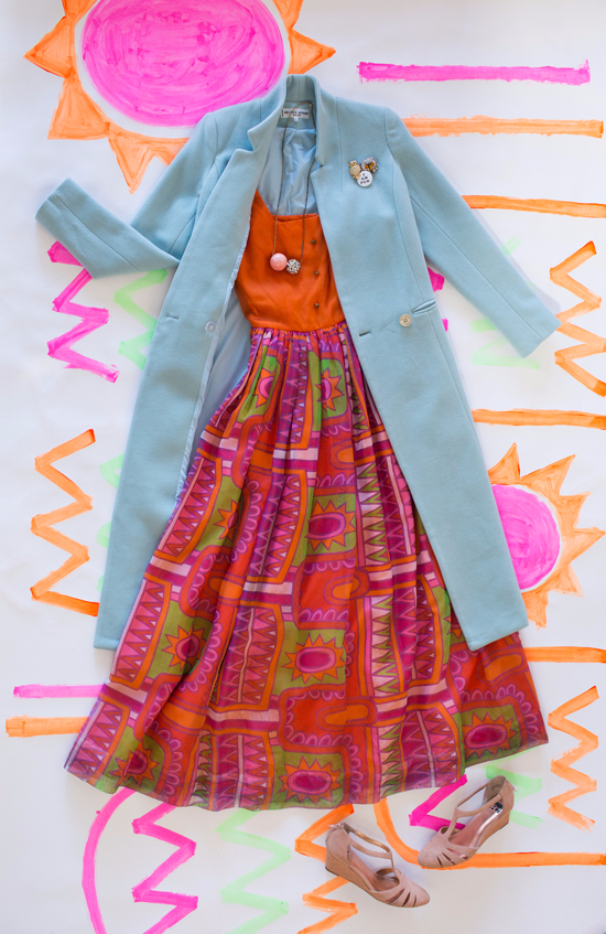 3 ways to wear a colorful coat