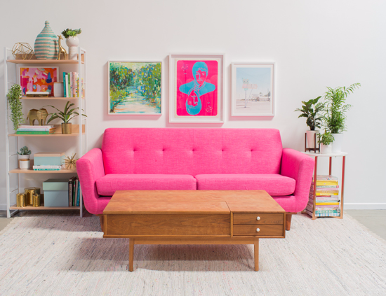 A Pink and Green Living Room!