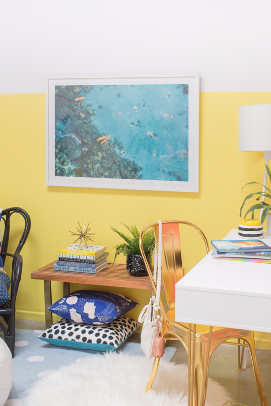 color adventures: a yellow and blue home office