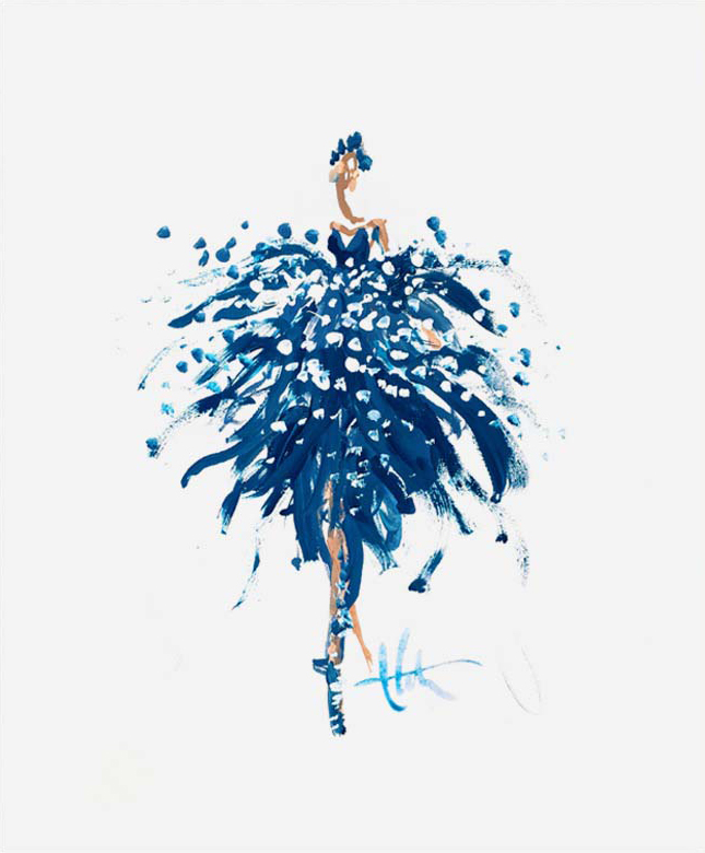 Bluebird Gown Print by Paper Fashion