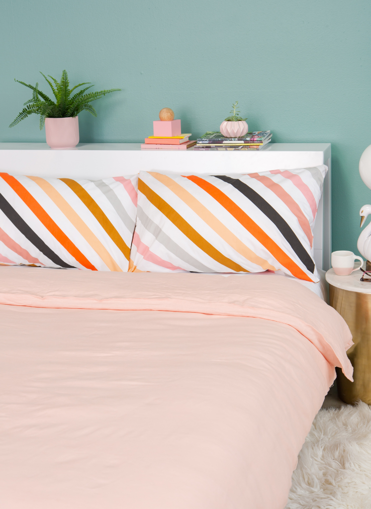 Castle in the Oh Joy! shop /  Blush Linen Duvet Cover + Candy Stripe Pillow Cases