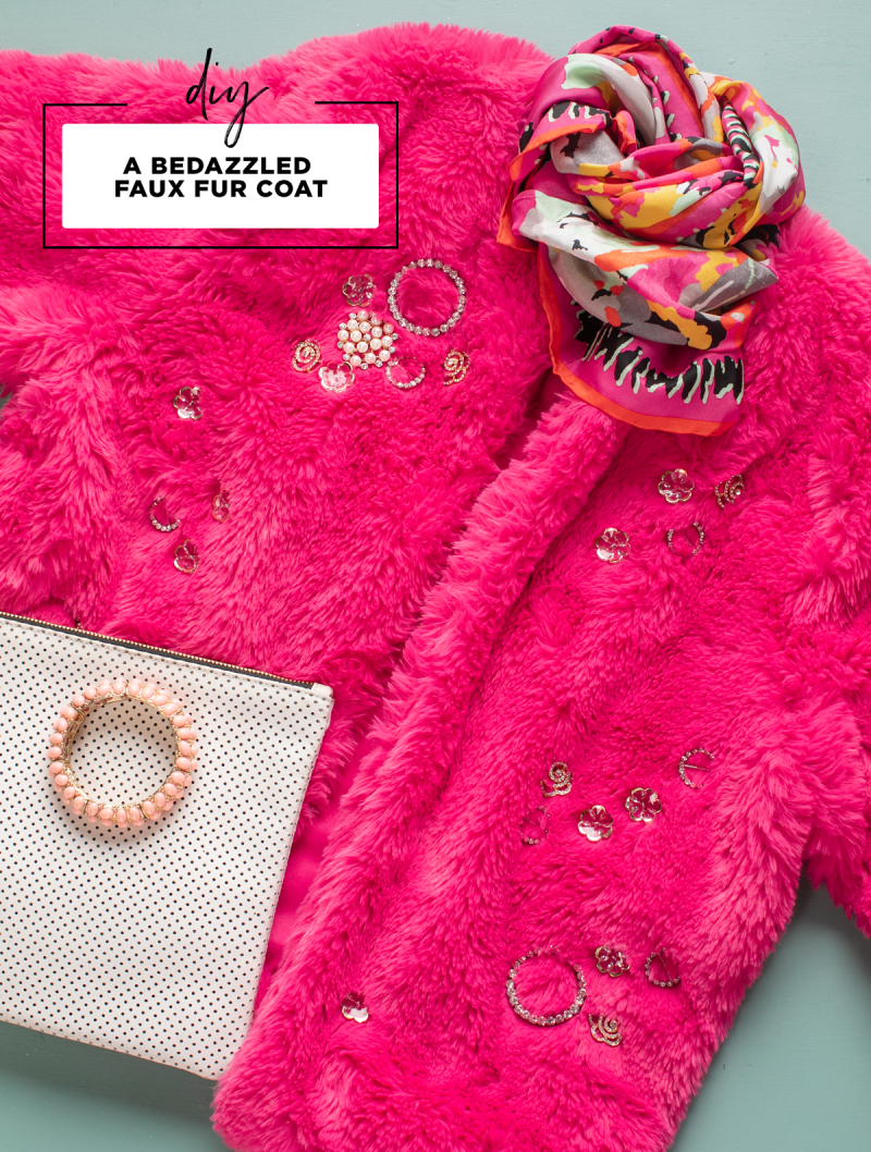 DIY: A Bedazzled Faux Fur Coat / via Oh Joy!
