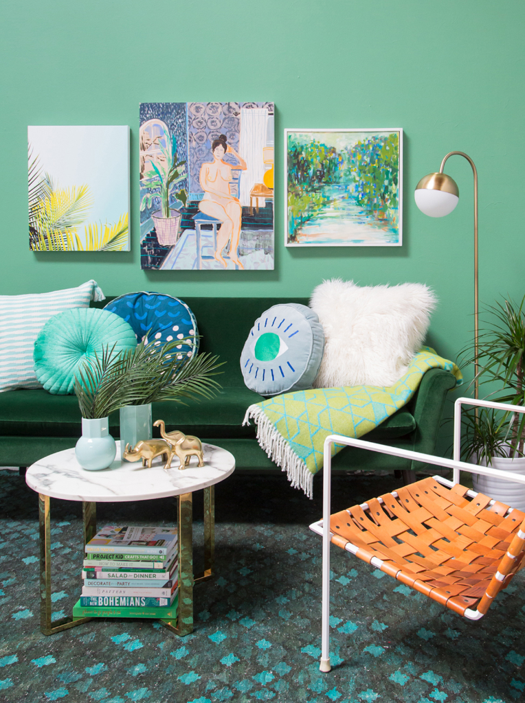 An All Green Living Room / via Oh Joy!