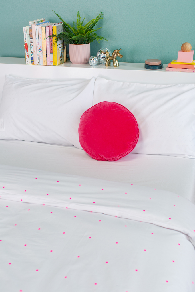 Castle in the Oh Joy! shop /  Pegboard Hot Pink Cotton Duvet Cover + Hot Pink Velvet Penny Round Pillow