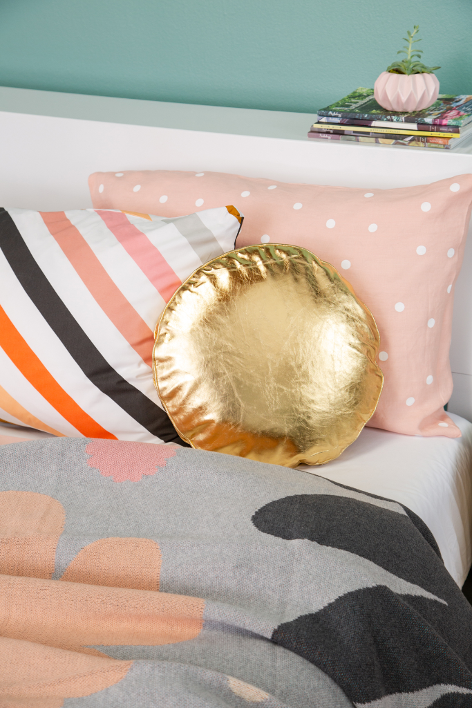 Castle in the Oh Joy! shop / Gold Penny Round Pillow + Candy Stripe Pillowcase