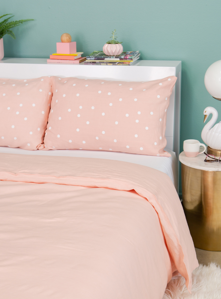 Castle in the Oh Joy! shop /  Blush Linen Duvet Cover + Blush Linen Polka Dot Pillow Cases