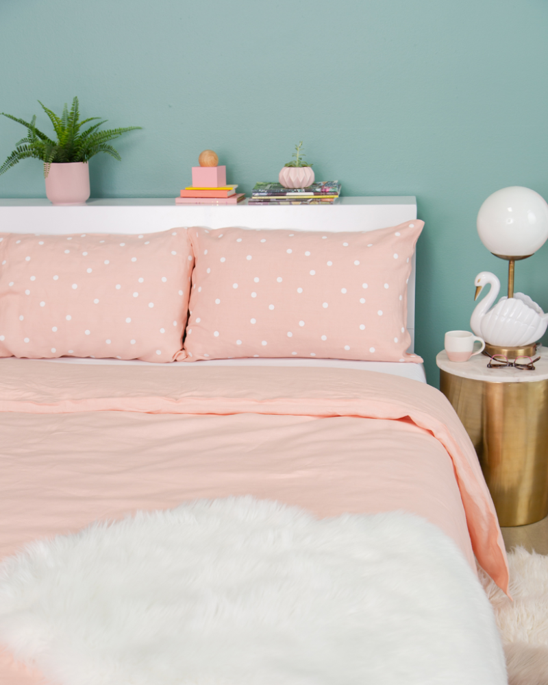 Castle in the Oh Joy! shop /  Blush Linen Duvet Cover + Blush Polka Dot Pillow Cases