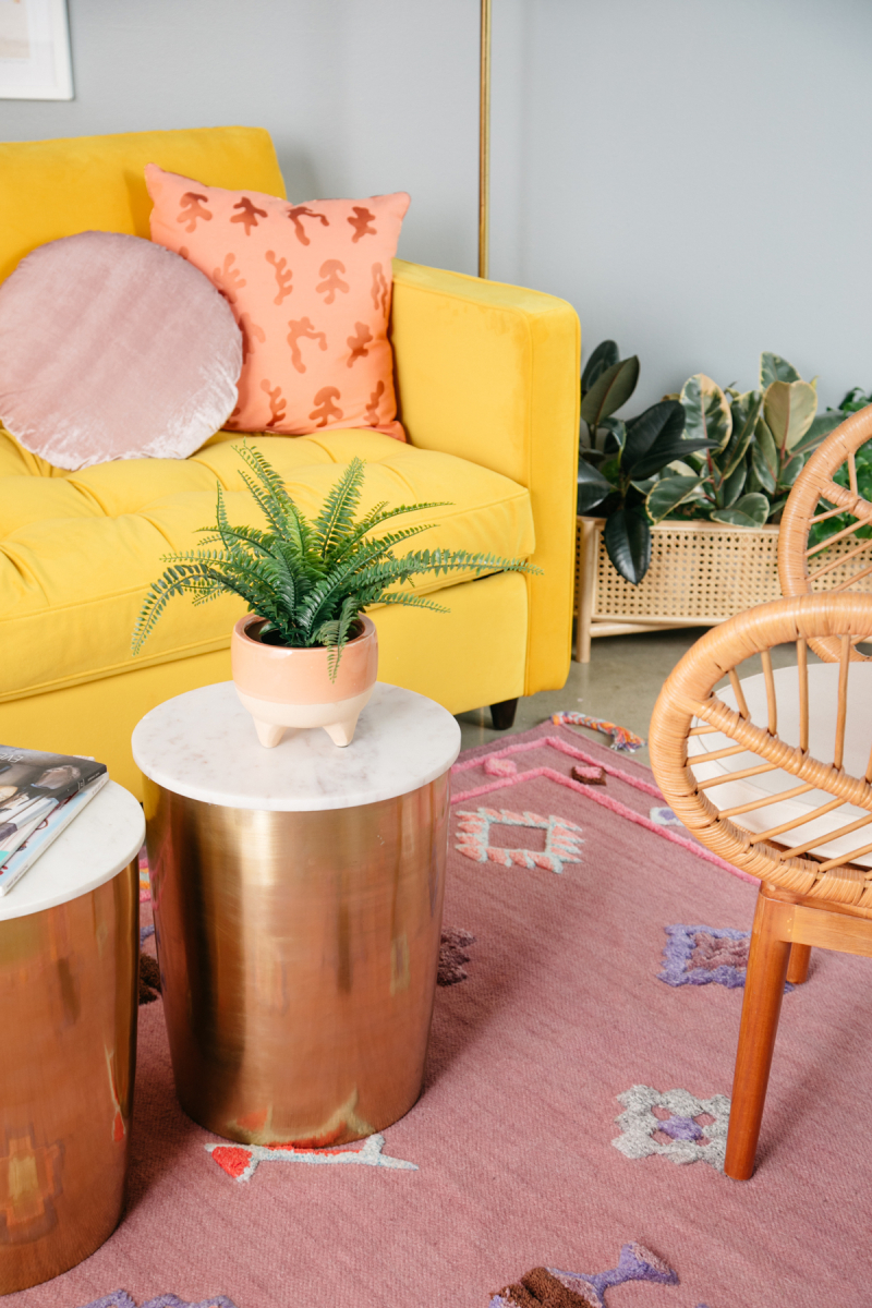 Two Ways to Style a Mustard Couch... / via Oh Joy!