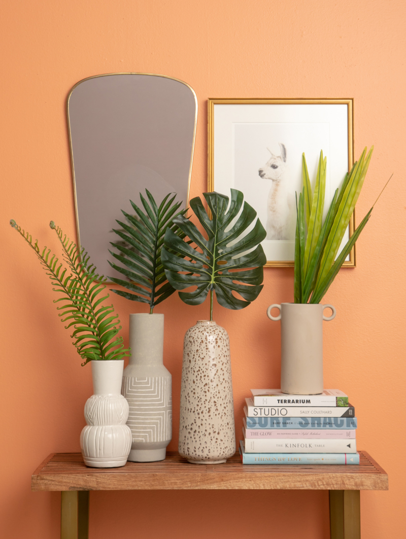 Three Ways to Style with Large Faux Leaves / via Oh Joy!