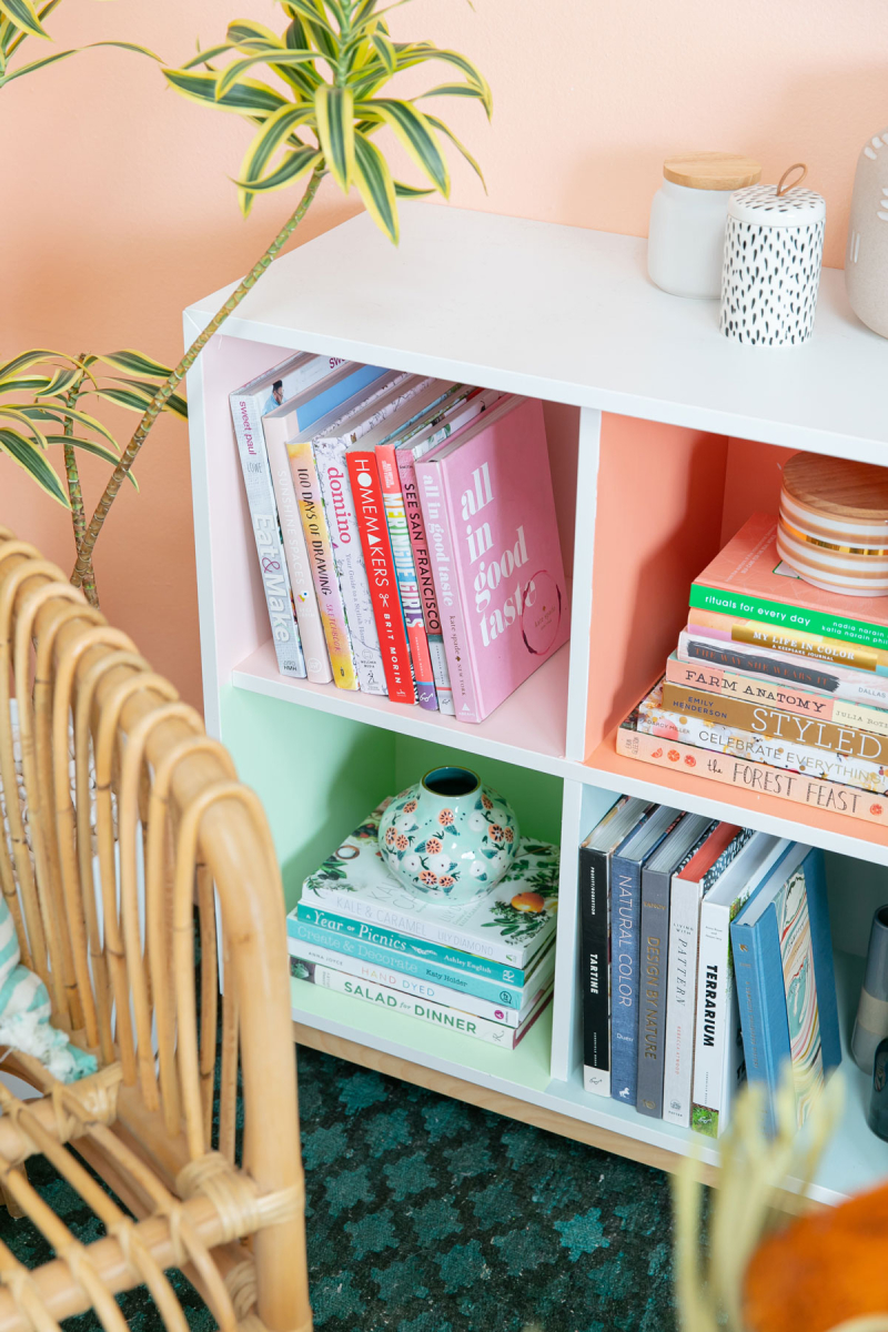 One Color-Block Book Shelf Styled Two Ways... / via Oh Joy!
