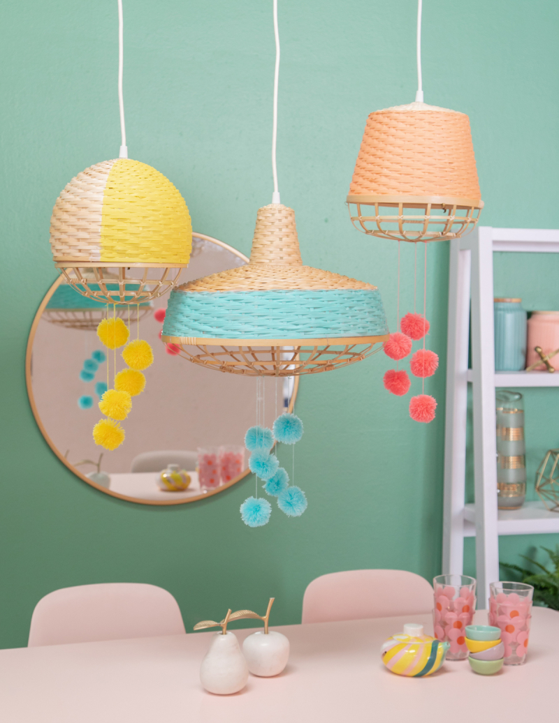 Spruce up Hanging Lights with the Fun DIY / via Oh Joy!