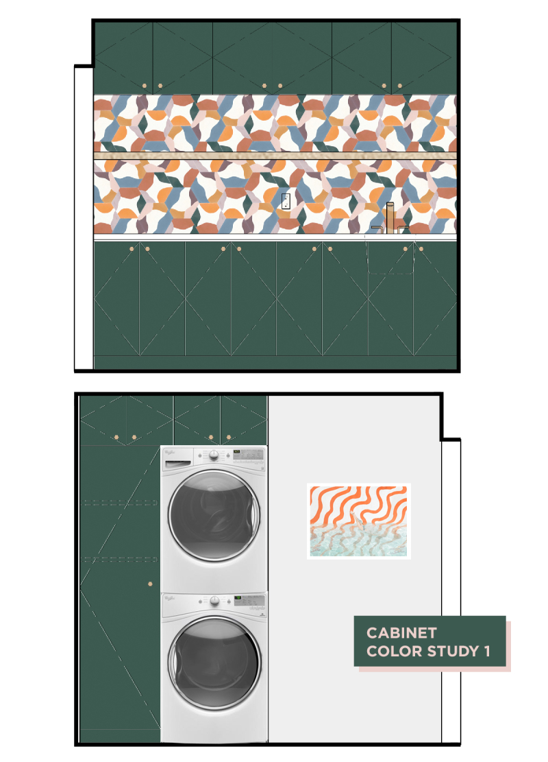 Oh Joy! Builds a House: The Laundry Room! // Cabinet Color Study 1 / via Oh Joy!
