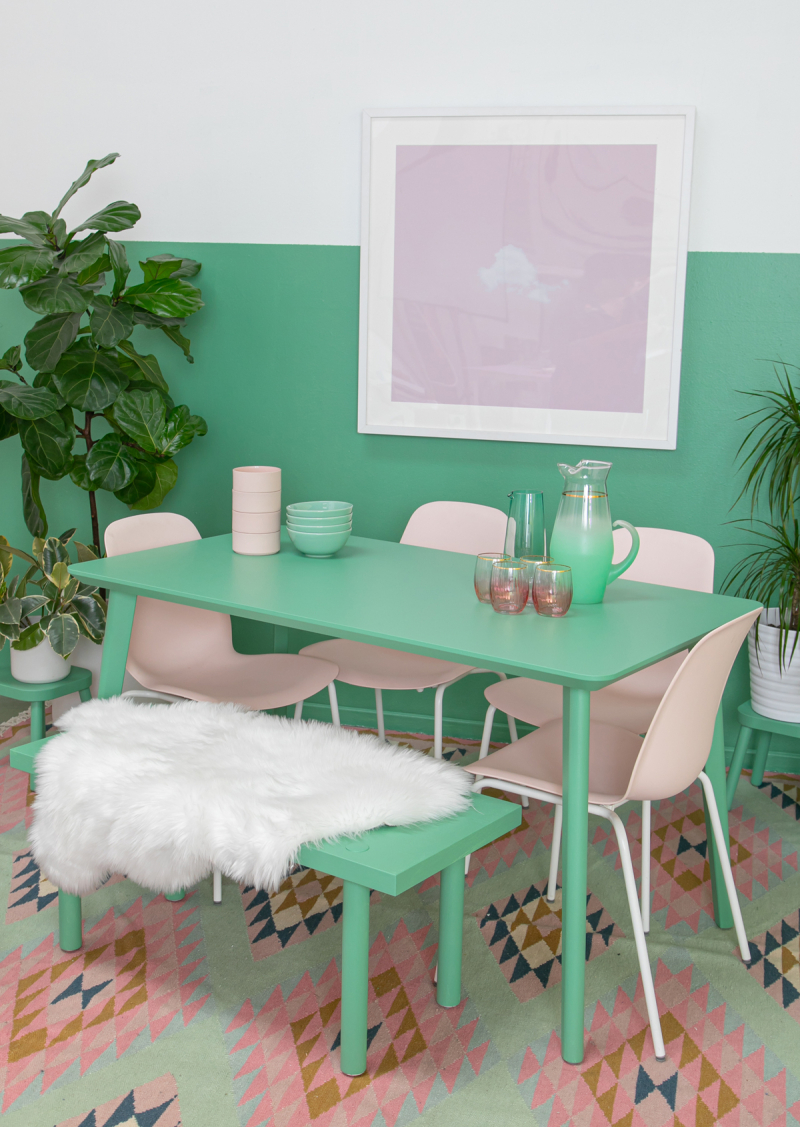 A Pink & Green Dining Room / via Oh Joy!