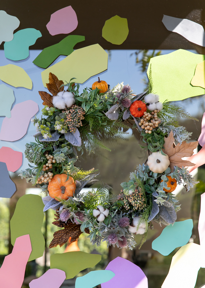 a fall wreath + door decal diy... / via oh joy!