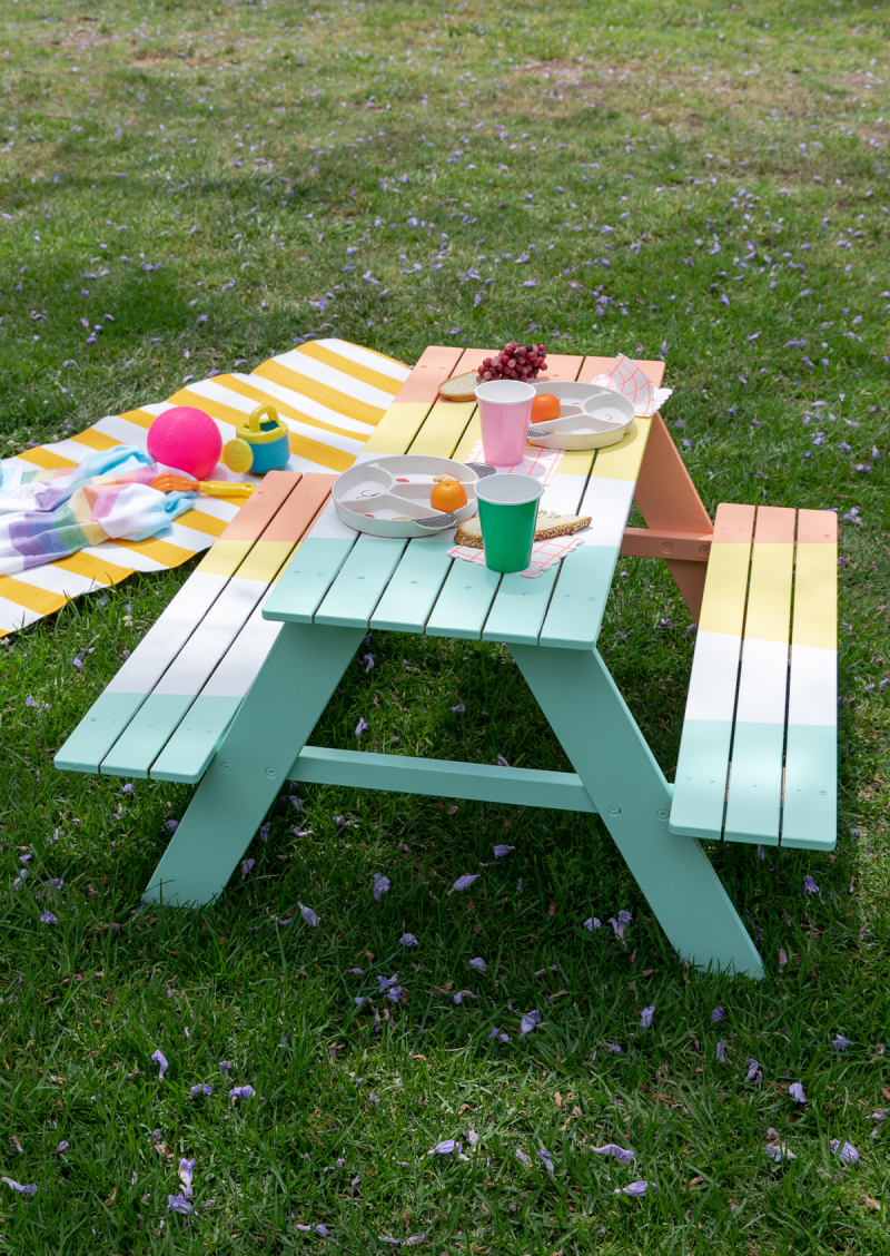 A Colorful Picnic Table for Your Kids... / DIY via Oh Joy!