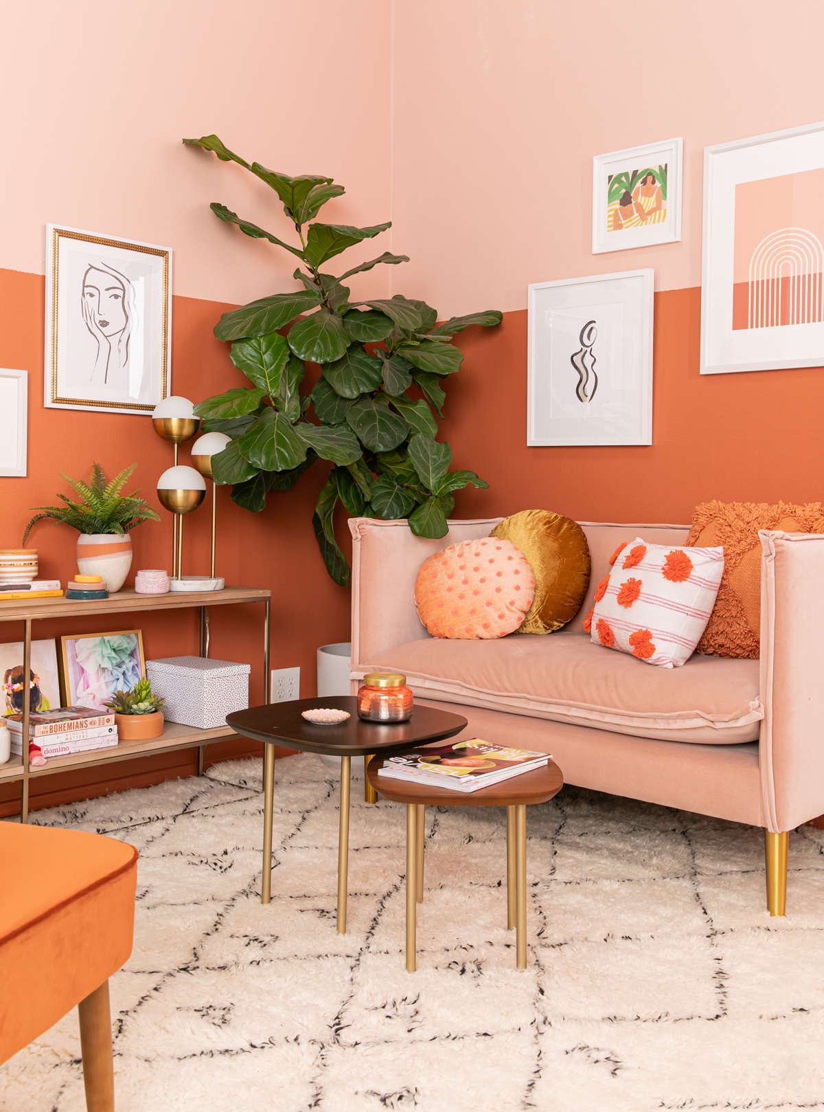 An Orange Inspired Living Room, Rust Color Living Room